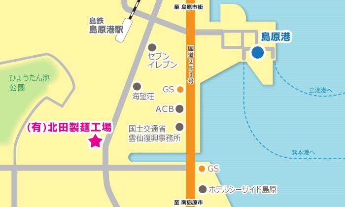 「北田製麺工場」所在地略図