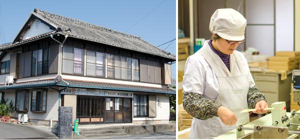 北田製麺工場外観と、品質管理工程の様子